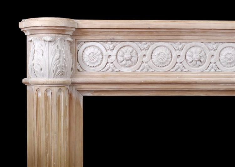 A FRENCH LOUIS XVI STYLE WOOD FIREPLACE WITH COMPOSITION ENRICHMENTS-Detail2