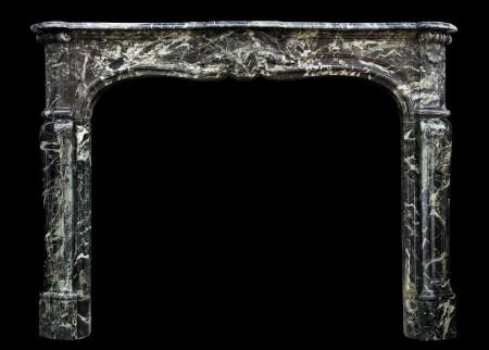 A FRENCH LOUIS XV STYLE ANTIQUE FIREPLACE IN TINOS GREEN MARBLE
