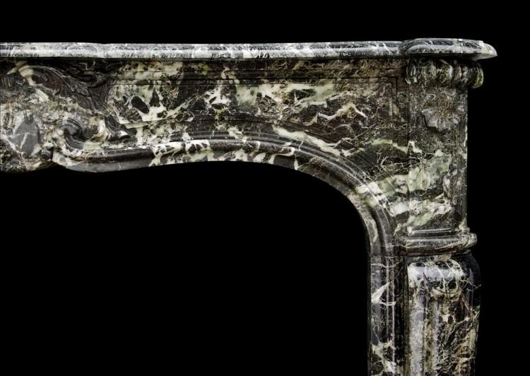 A FRENCH LOUIS XV STYLE ANTIQUE FIREPLACE IN TINOS GREEN MARBLE-Detail2