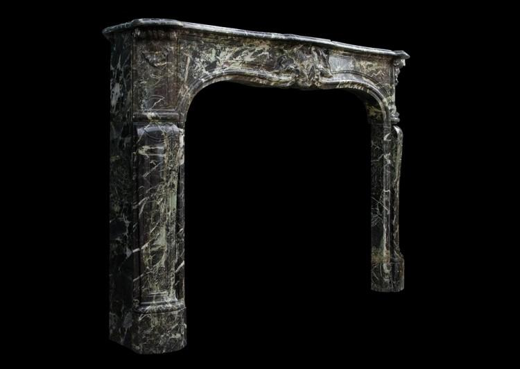 A FRENCH LOUIS XV STYLE ANTIQUE FIREPLACE IN TINOS GREEN MARBLE-Detail3