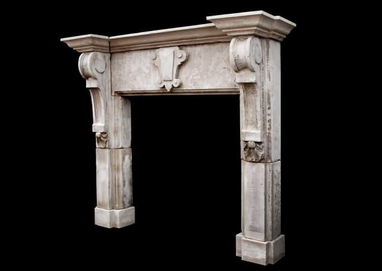 A LARGE ENGLISH LIMESTONE FIREPLACE WITH SHAPED BRACKETS-Detail3