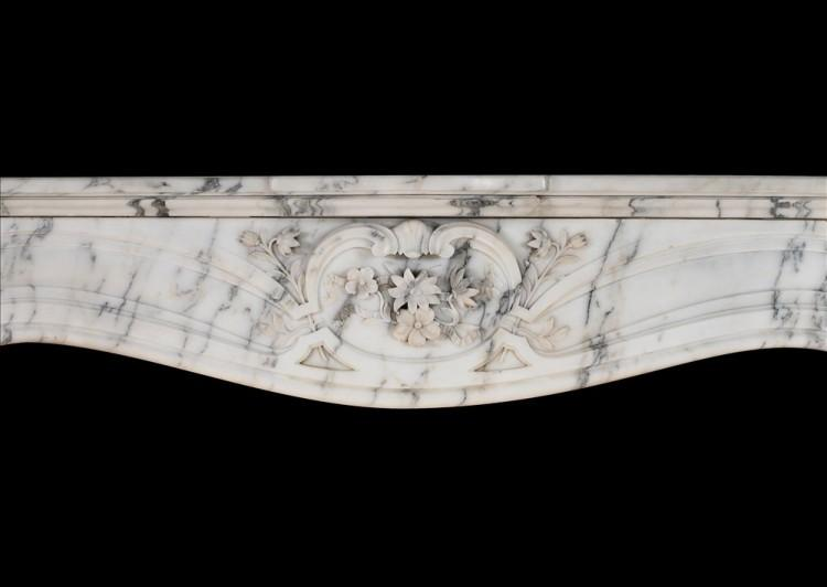 A FRENCH ART NOUVEAU MARBLE MANTELPIECE IN LIGHT PAVANAZZO MARBLE-Detail1