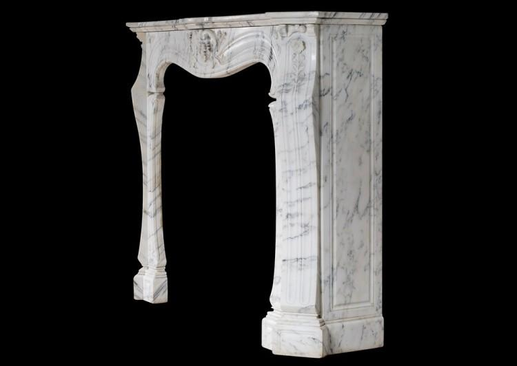 A FRENCH ART NOUVEAU MARBLE MANTELPIECE IN LIGHT PAVANAZZO MARBLE-Detail4