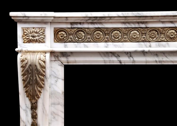 A LOUIS XVI STYLE ARABESCATO MARBLE FIREPLACE WITH BRASS ORMOLU ENRICHMENTS-Detail1