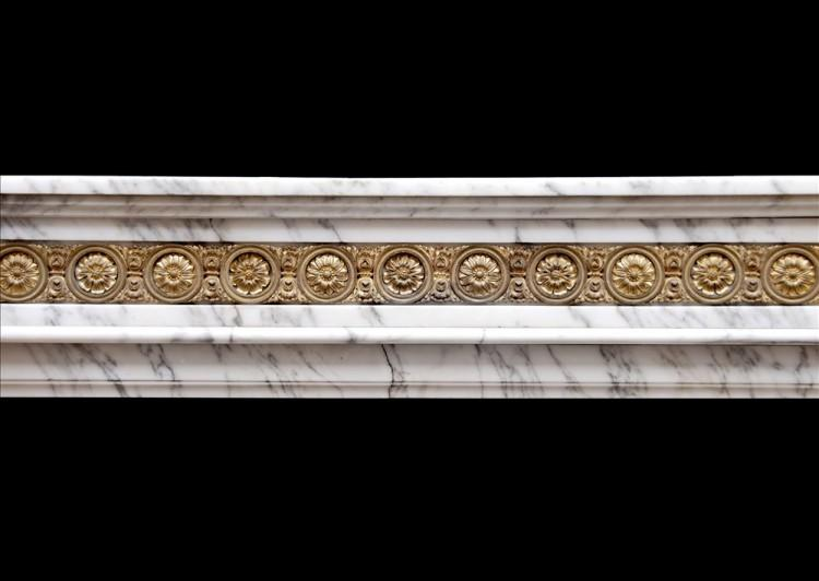 A LOUIS XVI STYLE ARABESCATO MARBLE FIREPLACE WITH BRASS ORMOLU ENRICHMENTS-Detail2