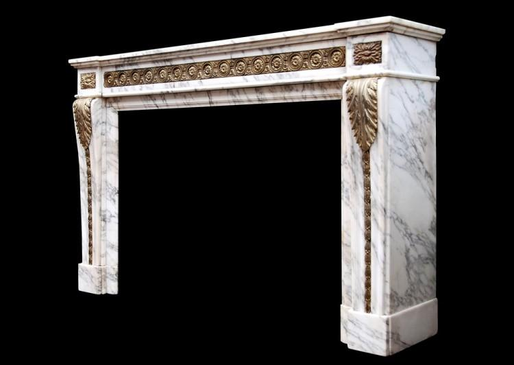 A LOUIS XVI STYLE ARABESCATO MARBLE FIREPLACE WITH BRASS ORMOLU ENRICHMENTS-Detail3