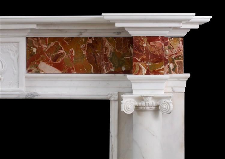 A GEORGE III STYLE ANTIQUE STATUARY MARBLE FIREPLACE WITH JASPER INLAY-Detail1