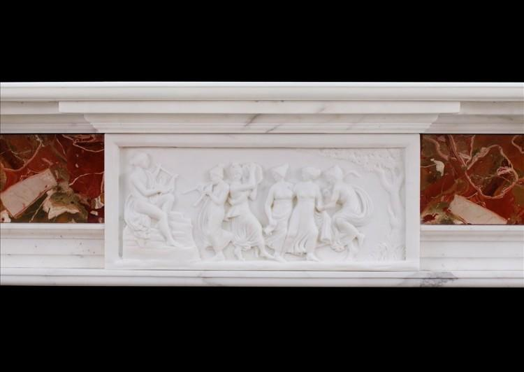 A GEORGE III STYLE ANTIQUE STATUARY MARBLE FIREPLACE WITH JASPER INLAY-Detail2