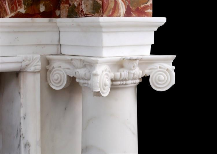 A GEORGE III STYLE ANTIQUE STATUARY MARBLE FIREPLACE WITH JASPER INLAY-Detail3