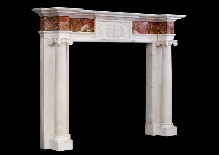 A GEORGE III STYLE ANTIQUE STATUARY MARBLE FIREPLACE WITH JASPER INLAY-Detail4