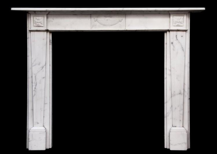An English veined Statuary antique marble fireplace