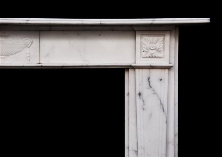 AN ENGLISH VEINED STATUARY ANTIQUE MARBLE FIREPLACE-Detail1