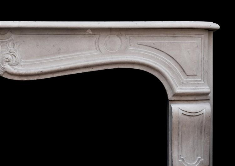 A 19TH CENTURY FRENCH LOUIS XV STYLE LIMESTONE FIREPLACE-Detail2