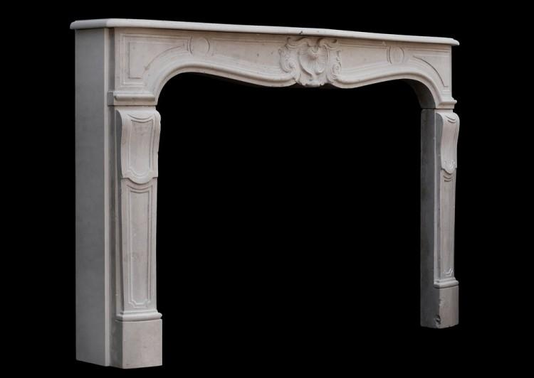 A 19TH CENTURY FRENCH LOUIS XV STYLE LIMESTONE FIREPLACE-Detail4