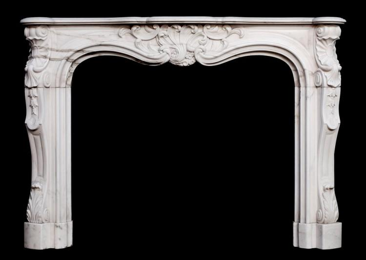 A 19th century French Louis XV style white marble fireplace