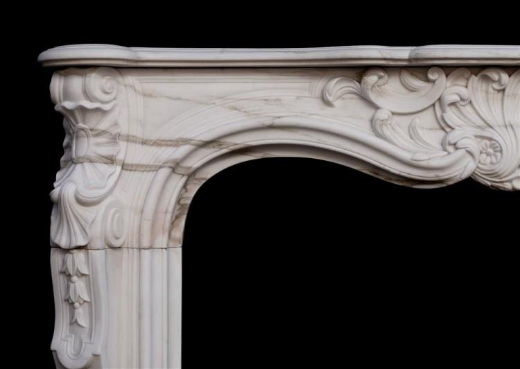 A 19TH CENTURY FRENCH LOUIS XV STYLE WHITE MARBLE FIREPLACE-Detail4