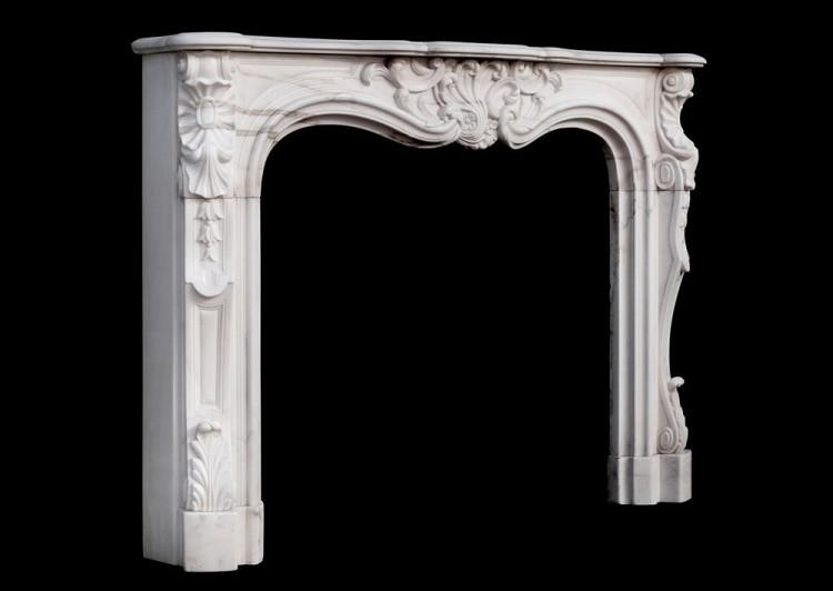 A 19TH CENTURY FRENCH LOUIS XV STYLE WHITE MARBLE FIREPLACE-Detail5