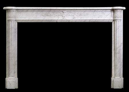 A 19TH CENTURY LOUIS XVI STYLE ANTIQUE FRENCH MARBLE FIREPLACE