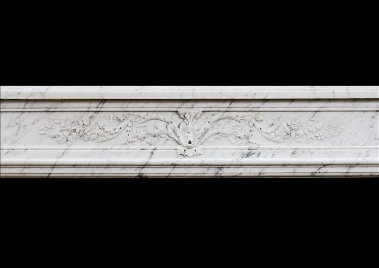 A 19TH CENTURY LOUIS XVI STYLE ANTIQUE FRENCH MARBLE FIREPLACE-Detail1