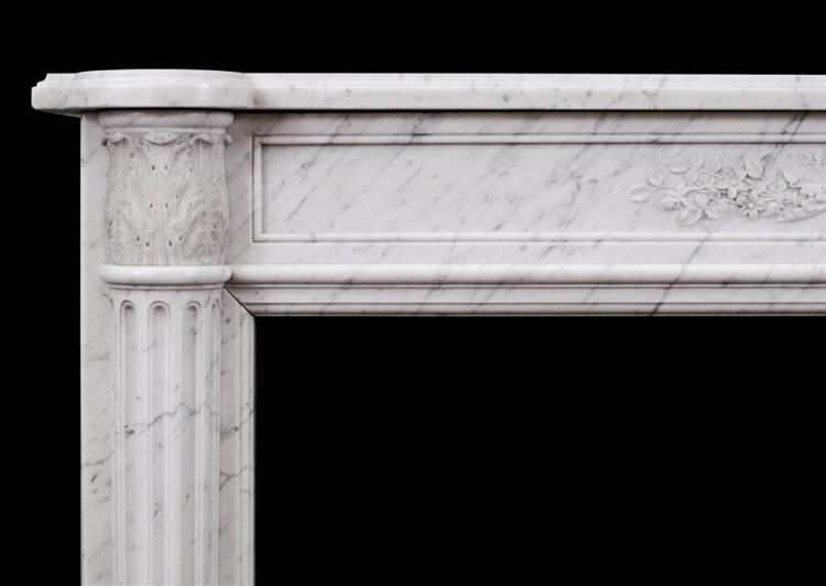 A 19TH CENTURY LOUIS XVI STYLE ANTIQUE FRENCH MARBLE FIREPLACE-Detai2