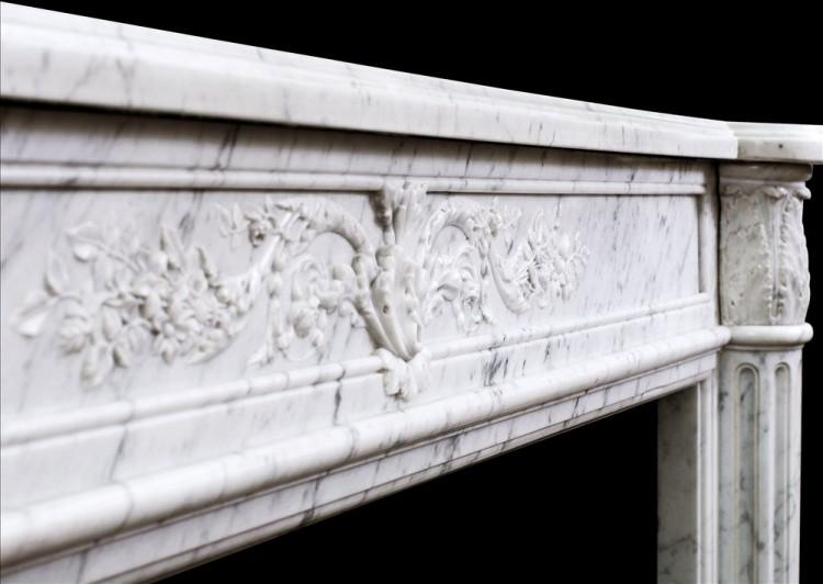 A 19TH CENTURY LOUIS XVI STYLE ANTIQUE FRENCH MARBLE FIREPLACE-Detail3