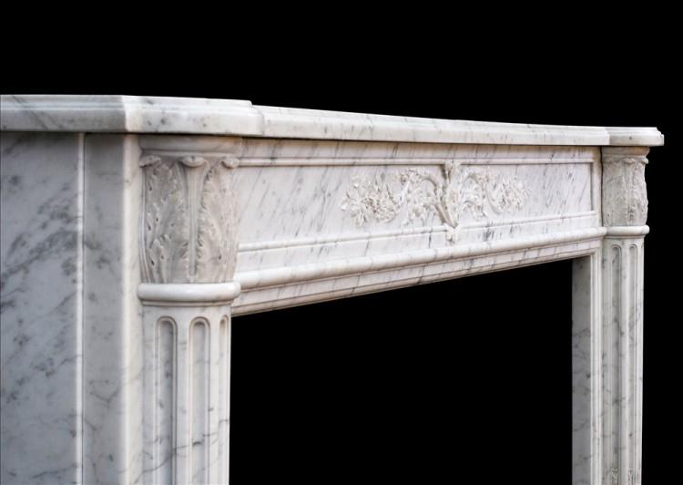 A 19TH CENTURY LOUIS XVI STYLE ANTIQUE FRENCH MARBLE FIREPLACE-Detail4