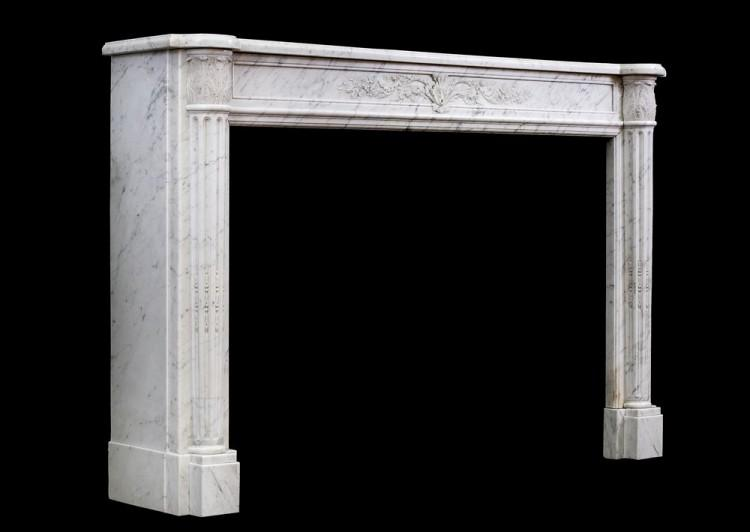 A 19TH CENTURY LOUIS XVI STYLE ANTIQUE FRENCH MARBLE FIREPLACE-Detail5