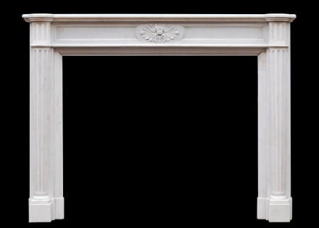 A FRENCH LOUIS XVI STYLE STATUARY MARBLE FIREPLACE