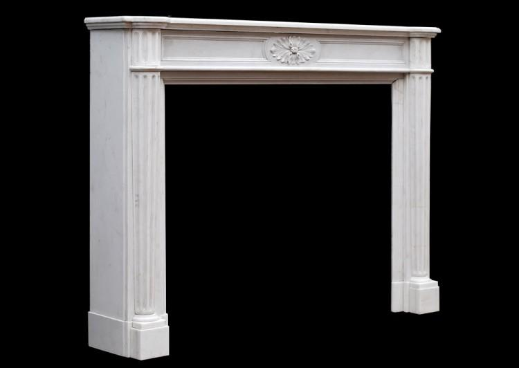 A FRENCH LOUIS XVI STYLE STATUARY MARBLE FIREPLACE-Detail1
