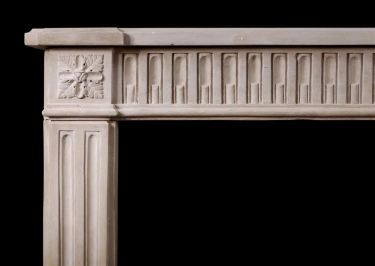 A FINE QUALITY PERIOD FRENCH LOUIS XVI STYLE LIMESTONE FIREPLACE-Detail2