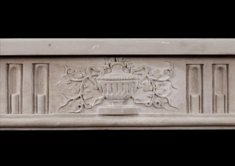 A FINE QUALITY PERIOD FRENCH LOUIS XVI STYLE LIMESTONE FIREPLACE-Detail3