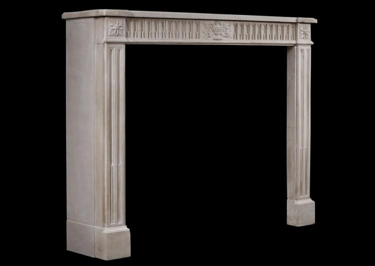A FINE QUALITY PERIOD FRENCH LOUIS XVI STYLE LIMESTONE FIREPLACE-Detail5