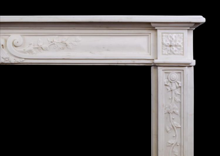 A LATE 18TH CENTURY LOUIS XVI STATUARY MARBLE FIREPLACE-Detail2
