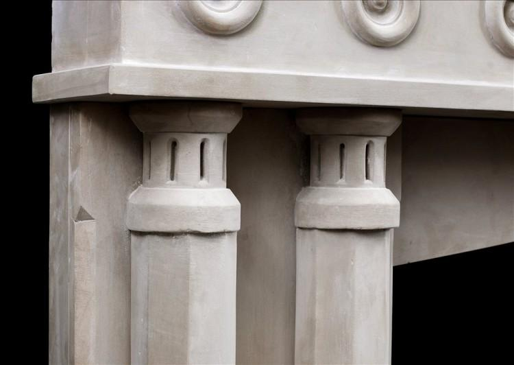 AN ENGLISH LIMESTONE FIREPLACE WITH A GOTHIC INFLUENCE-Detail3