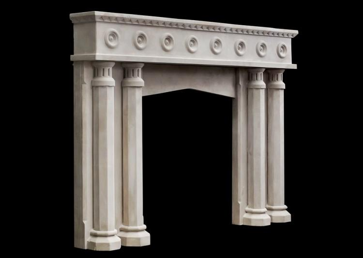 AN ENGLISH LIMESTONE FIREPLACE WITH A GOTHIC INFLUENCE-Detail5