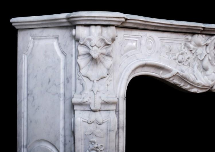 A FINE QUALITY CARVED FRENCH LOUIS XV CARRARA FIREPLACE-Detail2