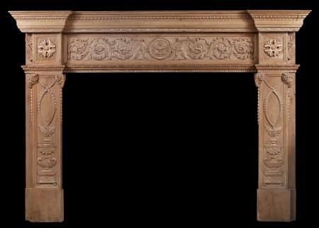 AN IMPOSING PERIOD ENGLISH ANTIQUE REGENCY PINE FIREPLACE