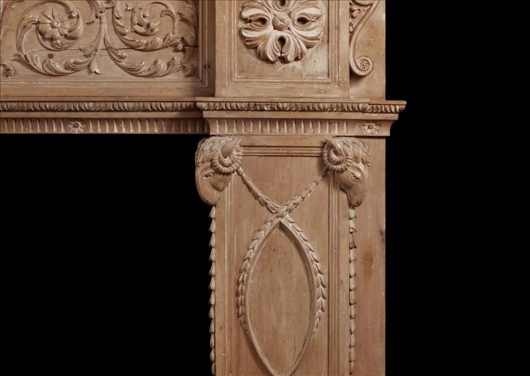AN IMPOSING PERIOD ENGLISH ANTIQUE REGENCY PINE FIREPLACE-Detail2