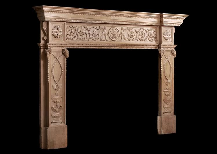 AN IMPOSING PERIOD ENGLISH ANTIQUE REGENCY PINE FIREPLACE-Detail3