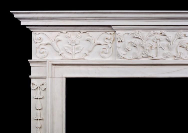 AN ATTRACTIVE GEORGE III STYLE WHITE MARBLE FIREPLACE-Detail1