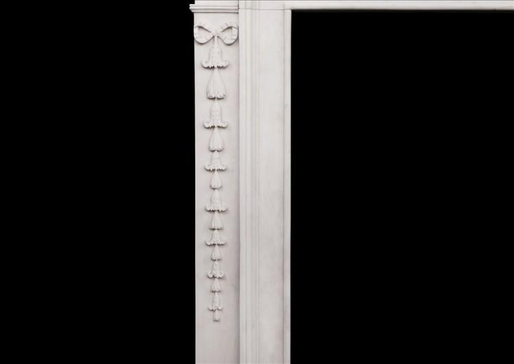 AN ATTRACTIVE GEORGE III STYLE WHITE MARBLE FIREPLACE-Detail2