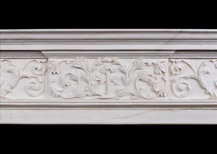 AN ATTRACTIVE GEORGE III STYLE WHITE MARBLE FIREPLACE-Detail3