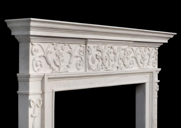 AN ATTRACTIVE GEORGE III STYLE WHITE MARBLE FIREPLACE-Detail4