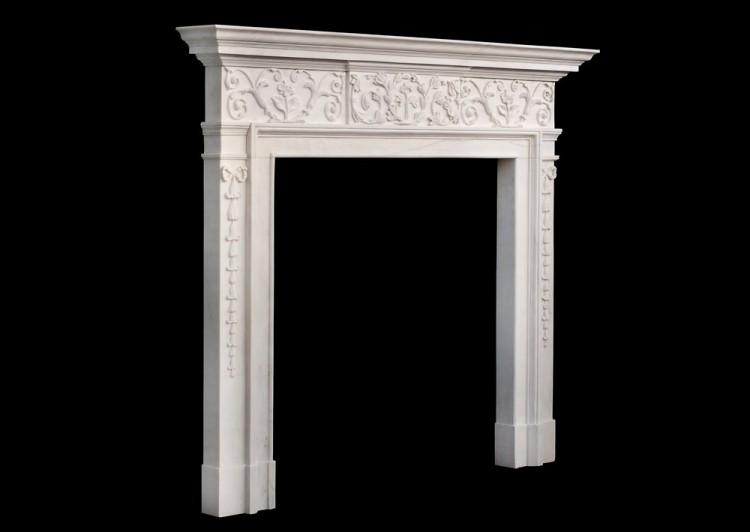 AN ATTRACTIVE GEORGE III STYLE WHITE MARBLE FIREPLACE-Detail5