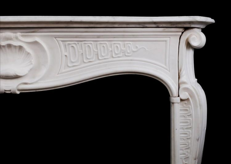A QUALITY 18TH CENTURY ANTIQUE ITALIAN FIREPLACE IN STATUARY MARBLE-Detail1