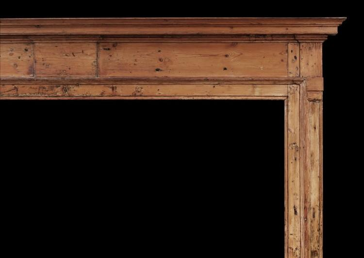 A LARGE EARLY 18TH CENTURY ENGLISH PINE FIREPLACE-Detail1