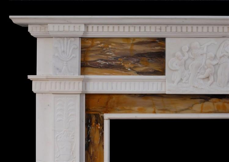 A NEO CLASSICAL ENGLISH STATUARY AND SIENNA MARBLE FIREPLACE-Detail1