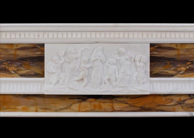 A NEO CLASSICAL ENGLISH STATUARY AND SIENNA MARBLE FIREPLACE-Detail3