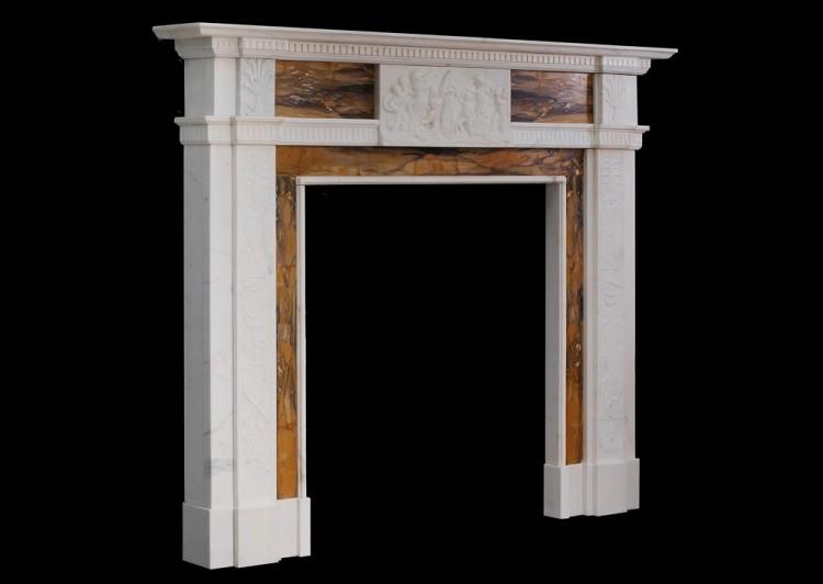 A NEO CLASSICAL ENGLISH STATUARY AND SIENNA MARBLE FIREPLACE-Detail4