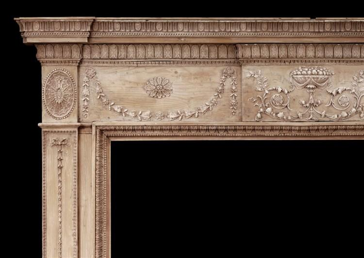 AN 18TH CENTURY PINE AND GESSO FIREPLACE-Detail1
